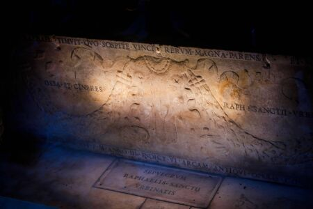 The tomb of Raphael inside the Pantheon, Rome