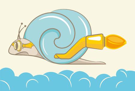 slug: Vector illustration snails in flight above the clouds Illustration