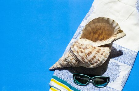 summery atmosphere with blue background with sunglasses, sarong and conch shell
