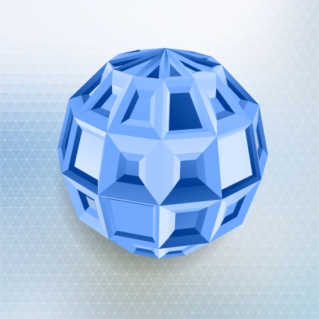 Abstract geometric shape with blue background