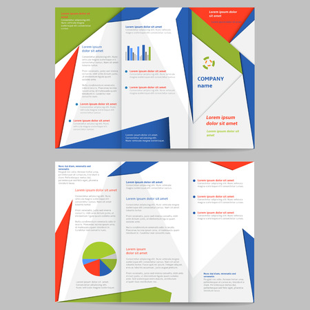 Tri-fold brochure design element illustration Vector
