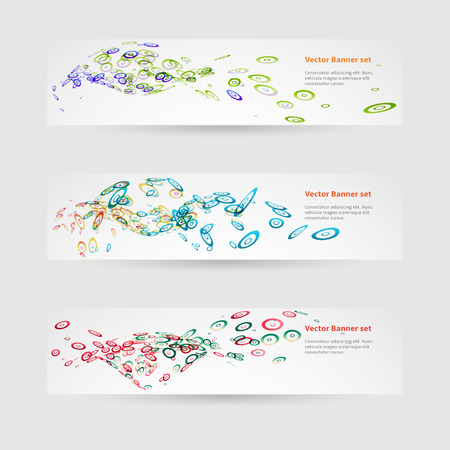Set of banners with round colored elements Vector