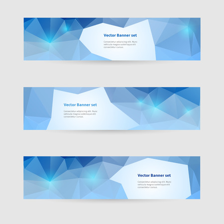 Set of horizontal banners with blue polygons and place for text Vector