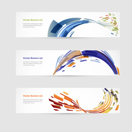 Set of horizontal banners with geometric elements