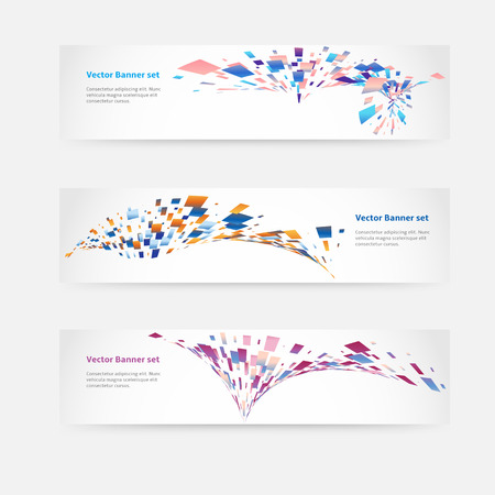 Set of horizontal banners with geometric elements Vector