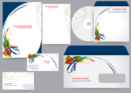 Corporate identity template with abstract colorful elements Ilustração