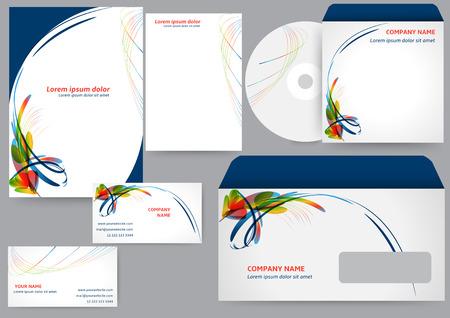 membrete: Modelo de la identidad corporativa con elementos coloridos abstractos Vectores