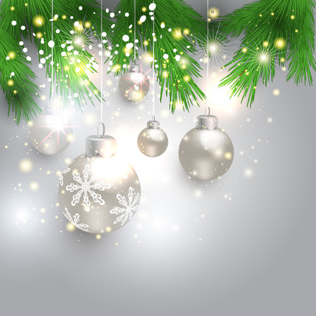 firtrees: Holiday bright background with christmas balls and fir-trees Illustration