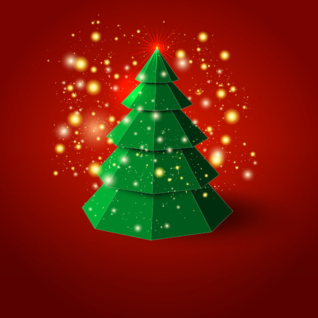 green card: Abstract christmas tree on red background Illustration