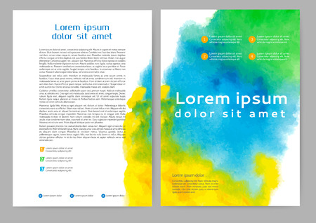 Abstract color brochure template with watercolor background