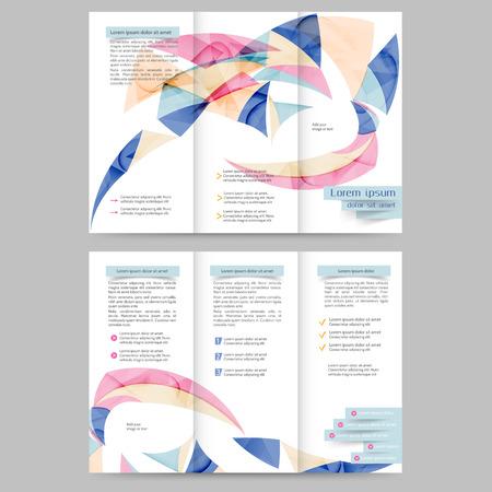 tri  color: Color tri fold business brochure design template with geometric elements