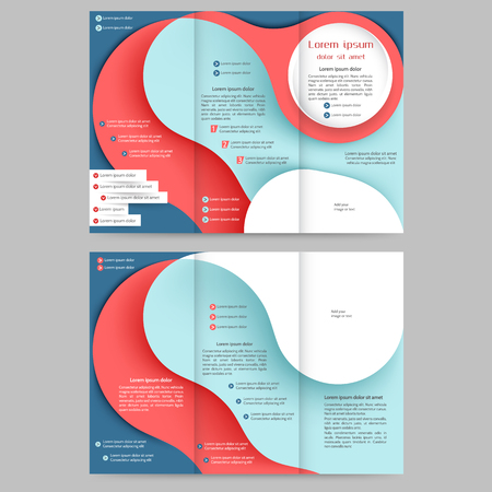 tri  color: Color tri fold business brochure design template with abstract lines and wavess