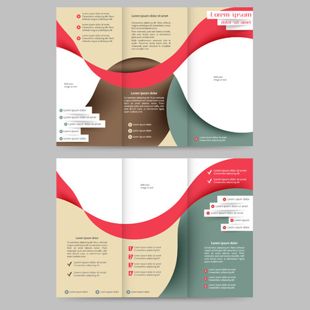 published: Color tri fold business brochure design template with abstract lines and waves
