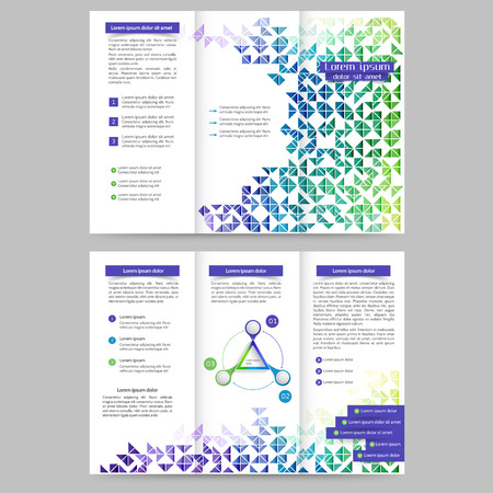 printout: Colored tri fold business brochure design template with geometric elements for your business