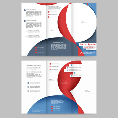 printout: Colored tri fold business brochure design template with abstract lines and waves for your business