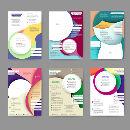 Plantilla de folleto de color abstracto con líneas abstractas y ondas para su negocio Ilustración de vector