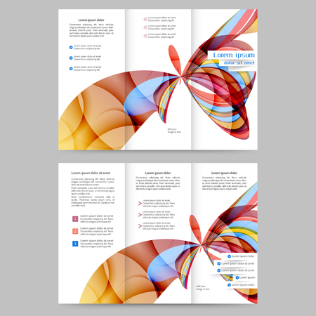 flayer: Color tri fold business brochure design with abstract lines and waves Illustration