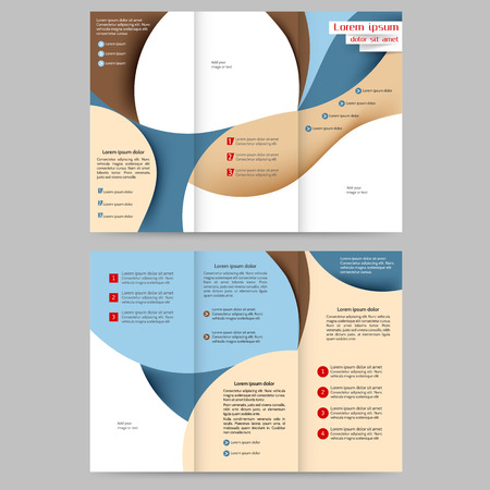 printout: Color tri fold business brochure design with abstract lines and waves Illustration