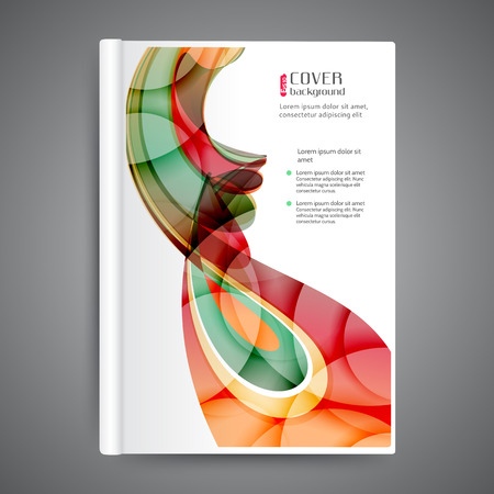 magazine design: Abstract template book cover with abstract lines and waves