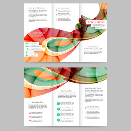 magazine design: Color tri fold business brochure design with abstract lines and waves Illustration