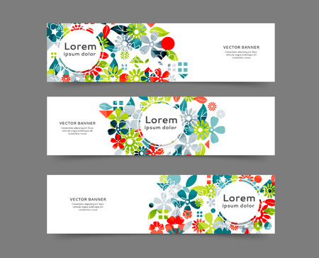 Set of abstract web banner templates for your site or blog with floral background Ilustração