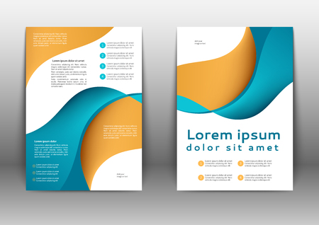 Color brochure template with abstract lines and waves  Vectores