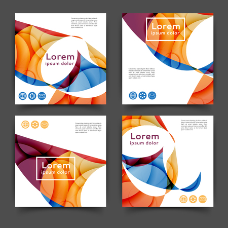 Set of square color brochures, book template with abstract lines and waves.