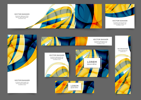 Set of web banner templates for your site or blog with abstract lines and waves. Different sizes