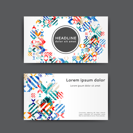 Abstract business card template with geometric elements.