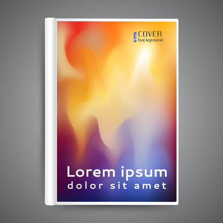 Color book design template with abstract blurred background.
