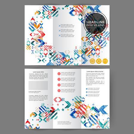 Color tri fold business brochure design template with geometric elements  Ilustração