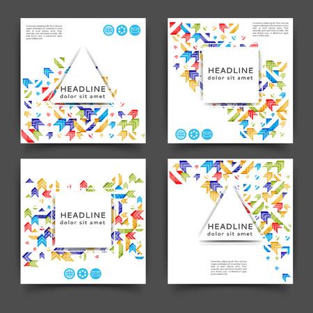 Set of square color brochures, book template with geometric elements. Ilustração