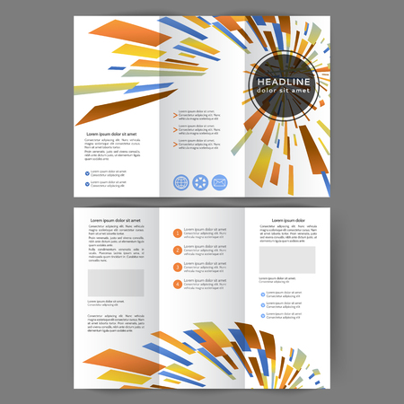 Color tri fold business brochure design template with geometric elements  Illustration