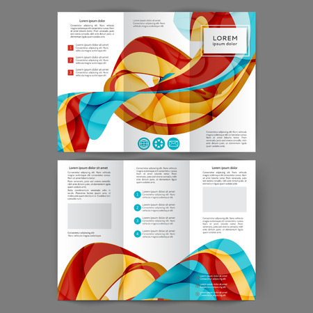 Color tri fold business brochure design template with abstract lines and waves