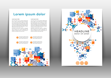 Abstract colored brochure template with geometric elements  Ilustração