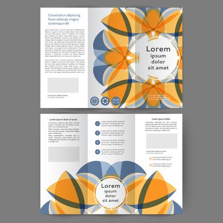 Color tri fold business brochure design with abstract floral background Ilustração