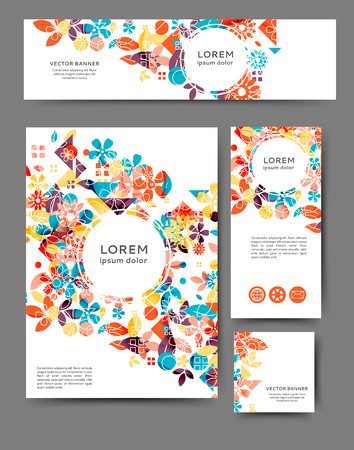 Set of advertising flyers and banners abstract floral background