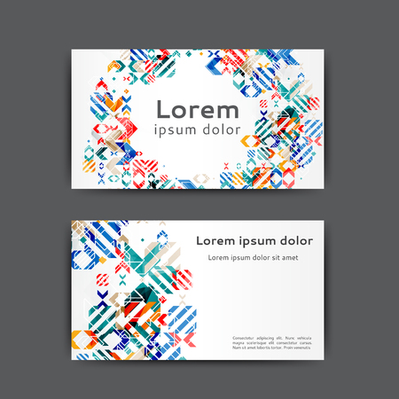 Abstract business card template with geometric elements Illusztráció