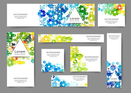 Set of abstract web banner templates for your site or blog with floral background. Different sizes Vettoriali