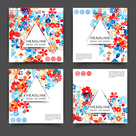 Set of square color brochures, book template with floral background Vector Illustration