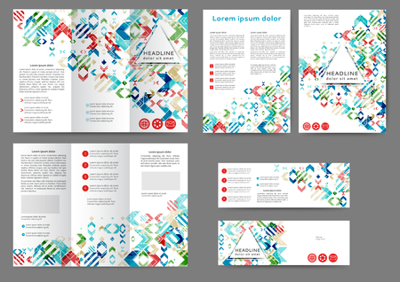 Set of color abstract brochure template with geometric elements