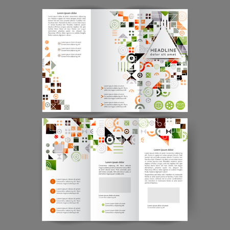 Color tri fold business brochure design template with geometric elements  Vettoriali