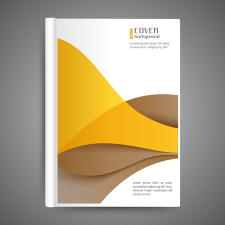 Template book cover with abstract lines and waves