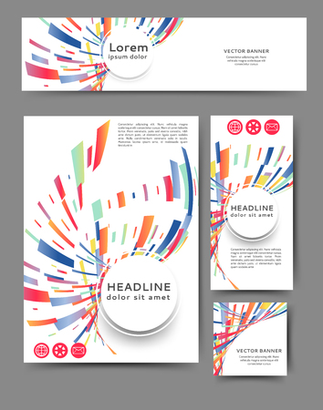 Set of promotional flyers with abstract geometric elements. Different sizes