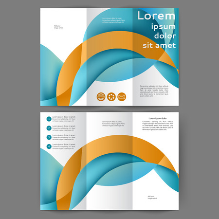 Color tri fold business brochure design template with abstract lines and waves Vector Illustration