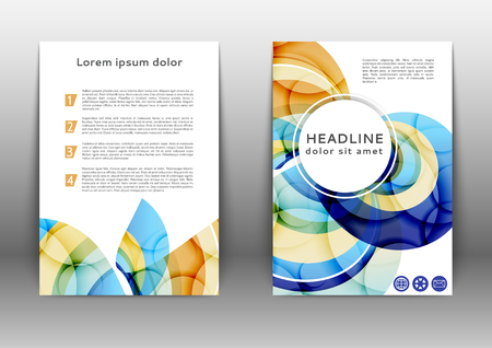 Color brochure design template  with abstract lines and waves Ilustração