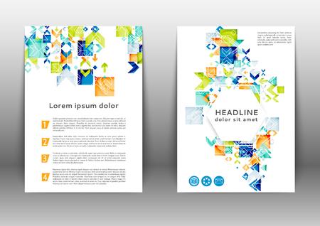 Abstract color brochure design template with geometric elements Ilustração