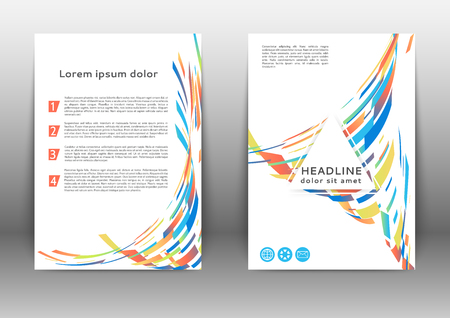 Abstract color brochure design template with geometric elements Illustration