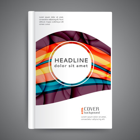 Color book design template with abstract lines and waves Ilustração