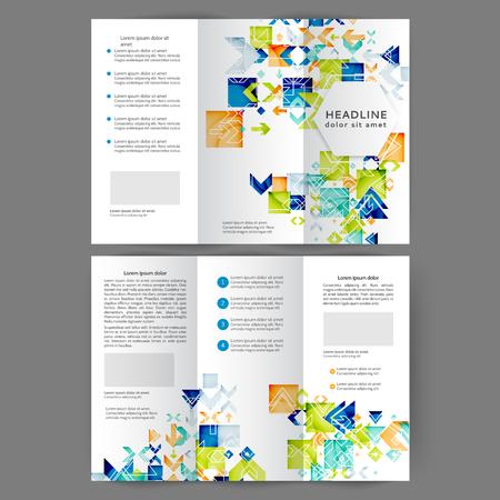 Color tri fold business brochure design templat with geometric elements Ilustração